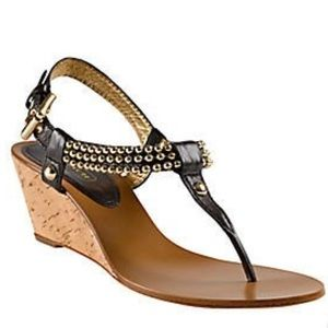 Coach Shoes - COACH STUDDED GLENNA BLACK WEDGE THONG SANDALS 8B